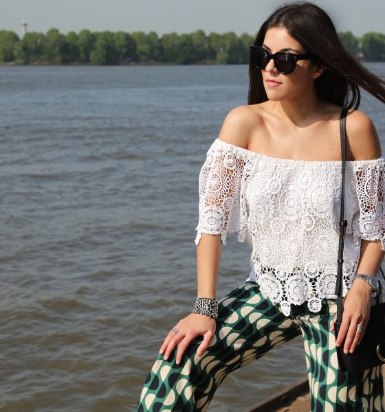 How to wear Off-Shoulder and printed pants